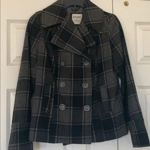 Plaid gray and black pea coat size xs